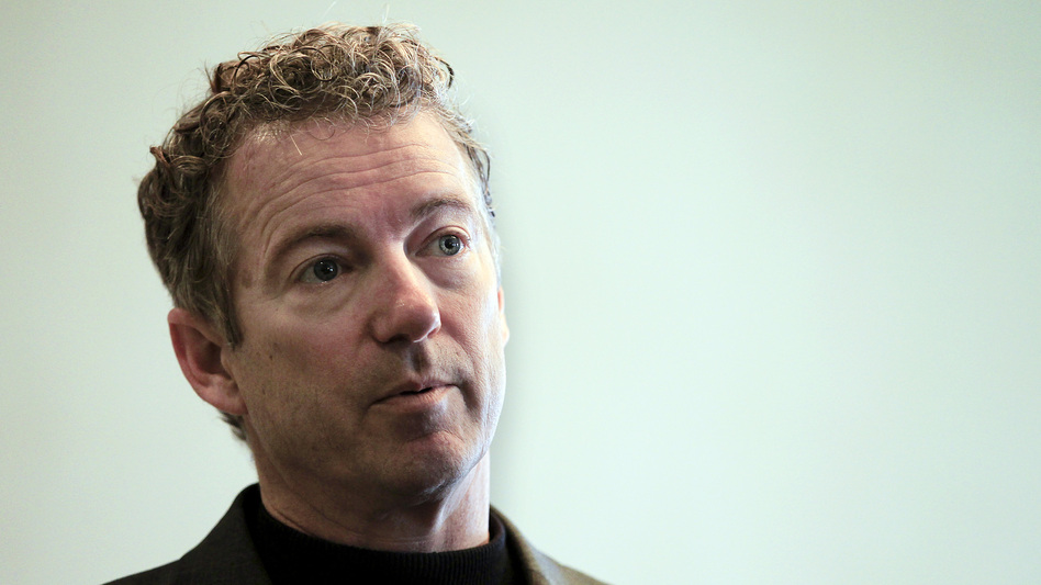 Sen. Rand Paul, R-Ky., listens to a question at the Epoch Restaurant in Exeter, N.H., on March 21. Paul announced his presidential run today in Louisville, Ky.