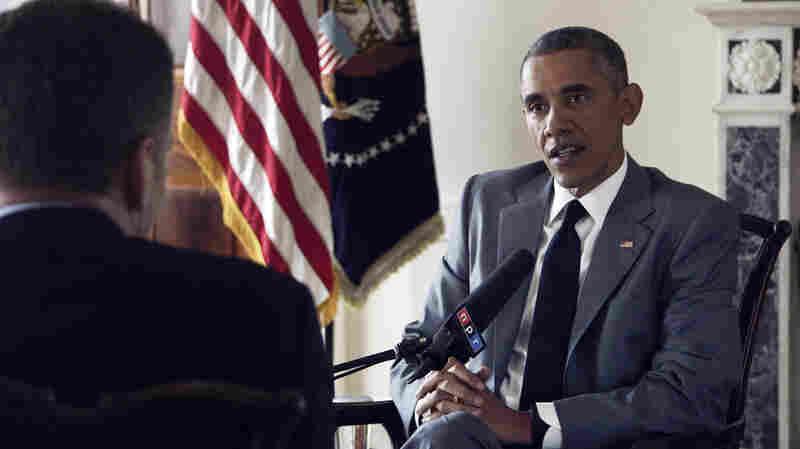 NPR's Morning Edition host Steve Inskeep interviews President Obama at the White House on Monday.