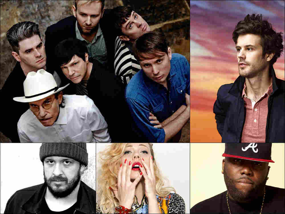 Clockwise, from upper left: FFS (Franz Ferdinand and Sparks), Michael Angelakos of Passion Pit, Killer Mike, MNDR, BC Camplight