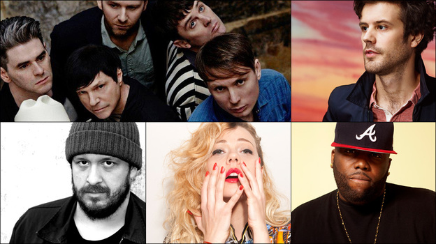 Clockwise, from upper left: FFS (Franz Ferdinand and Sparks), Michael Angelakos of Passion Pit, Killer Mike, MNDR, BC Camplight (Courtesy of the artists)