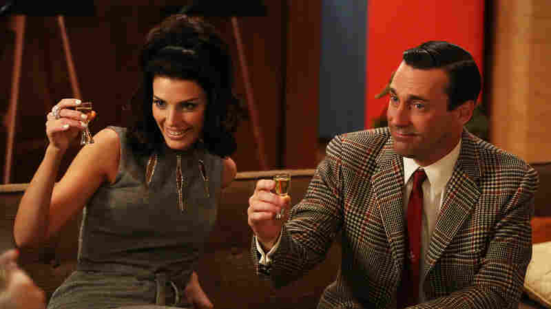Megan Draper (Jessica Pare) and Don Draper (Jon Hamm) in an episode of Mad Men's sixth se