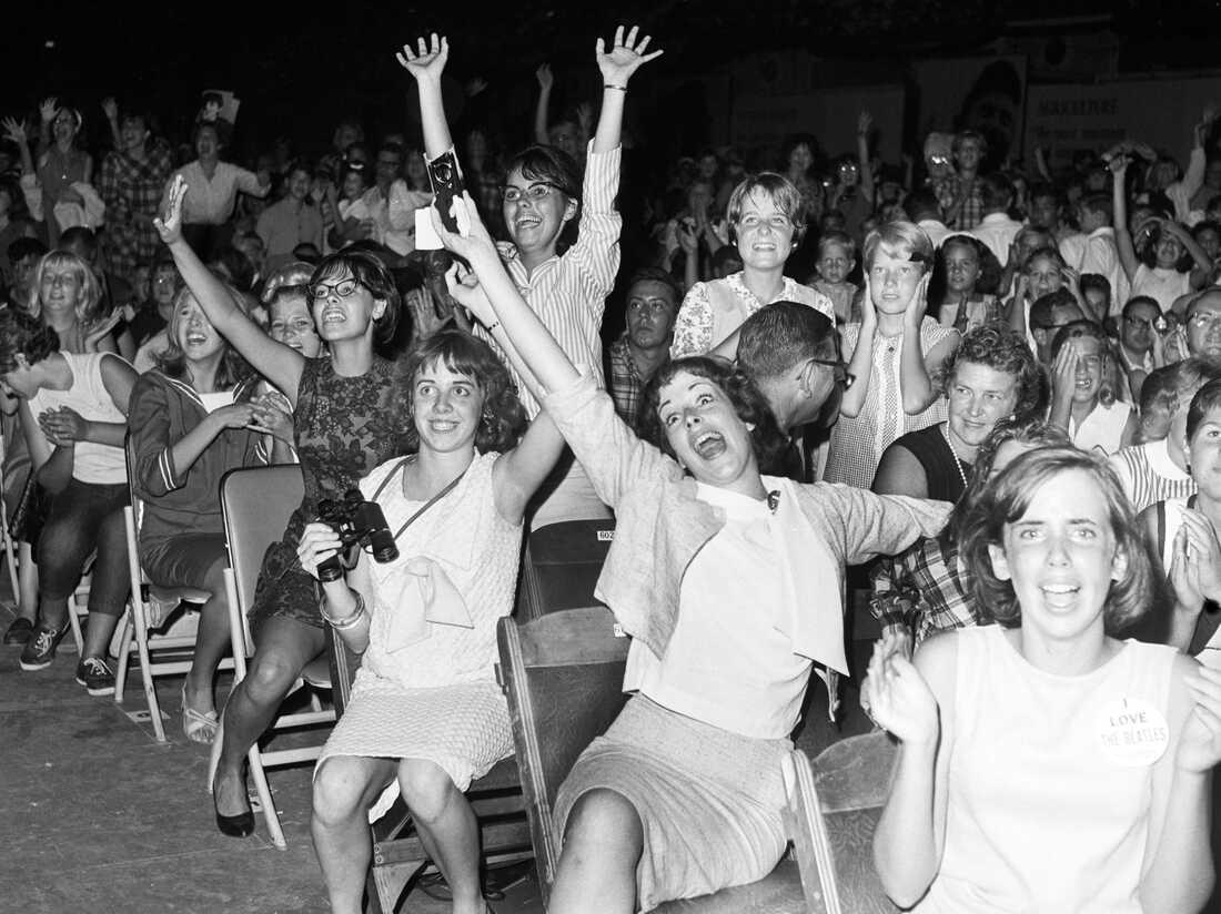 Screaming Beatles fans in 1964.