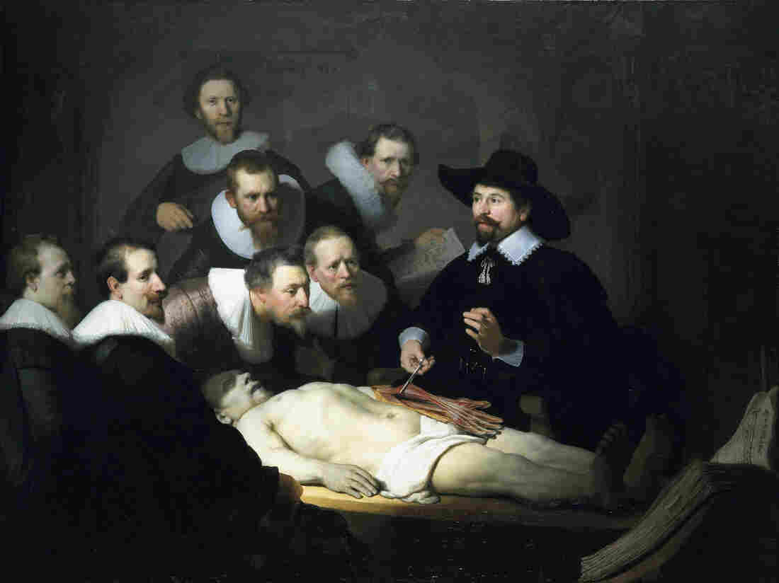 The Anatomy Lesson of Dr. Nicolaes Tulp by Rembrandt, 1632. Here, Tulp explains musculature matters. Elsewhere, the good doctor was promoting the health virtues of tea.
