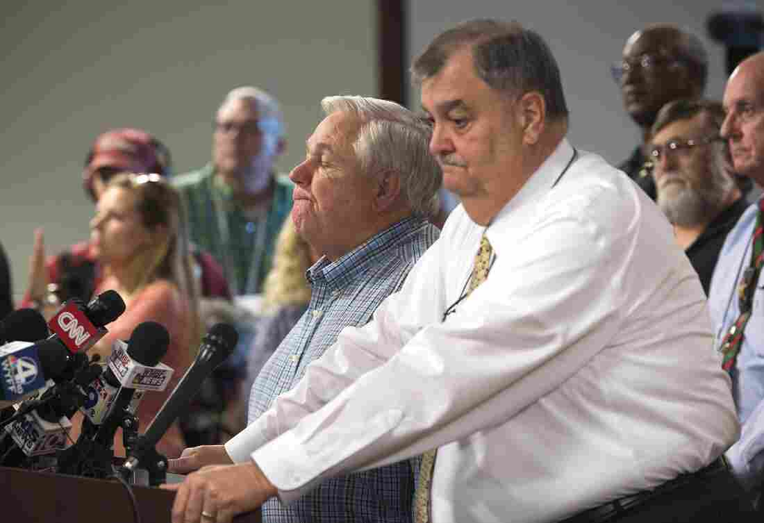North Charleston Mayor R. Keith Summey (left) and police Chief Eddie Driggers spoke Wednesday about a video that shows a white police officer fatally shooting a fleeing black man after a traffic stop.