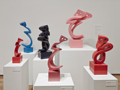 Fiberglass Heech sculptures by Parviz Tanavoli.