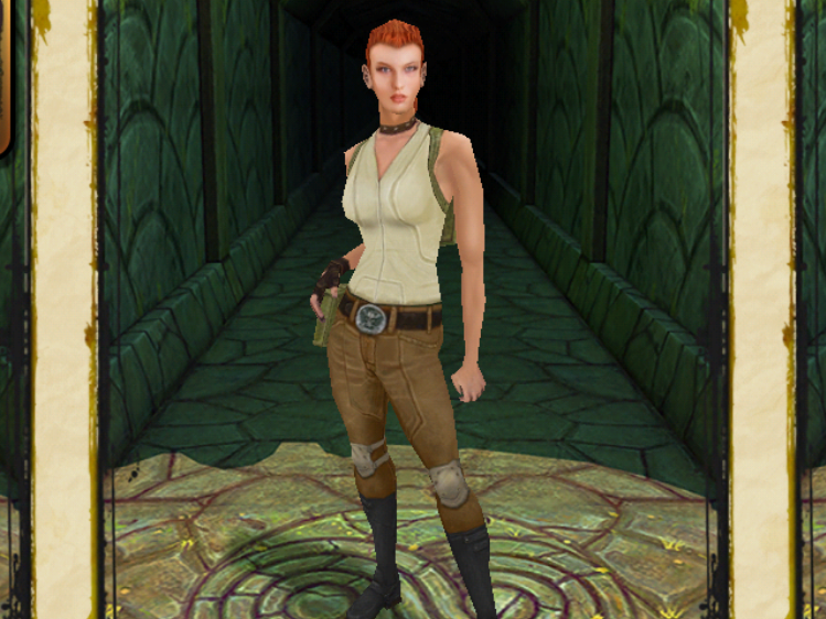 You have to pay to play as Scarlett Fox, a character in the mobile game Temple Run.