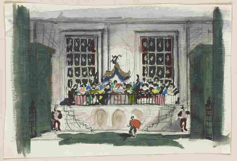 Robert Edmond Jones' set design for Scene I of The Birthday of the Infanta. Watercolors with graphite and ink.