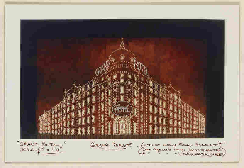 Tony Walton's grand drape design for Grand Hotel, which opened at the Martin Beck Theatre, New York City, in November 1989.
