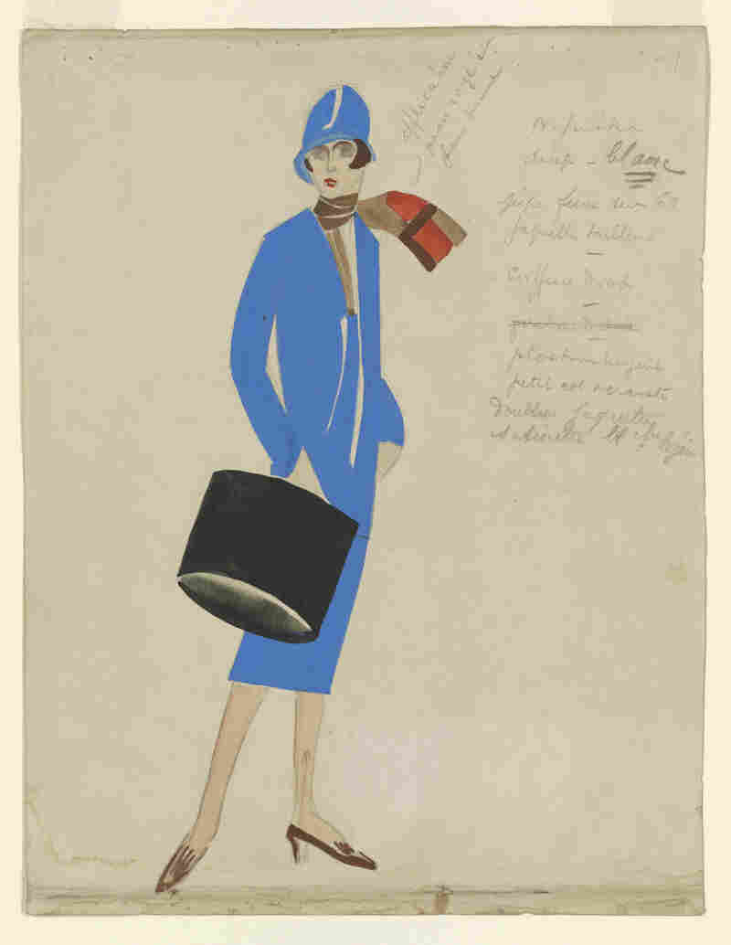 Coco Chanel's costume design for Le Train Bleu, which opened at the Théâtre des Champs-Élysées, Paris, in June 1924. Gouache drawing with notations.