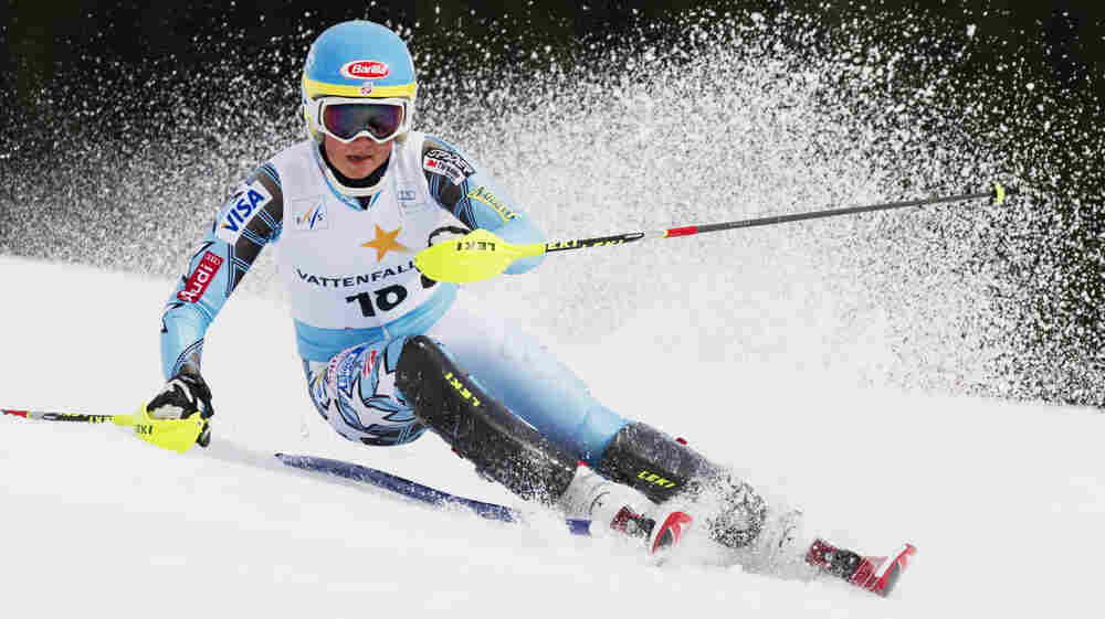Mikaela Shiffrin competes during the first run