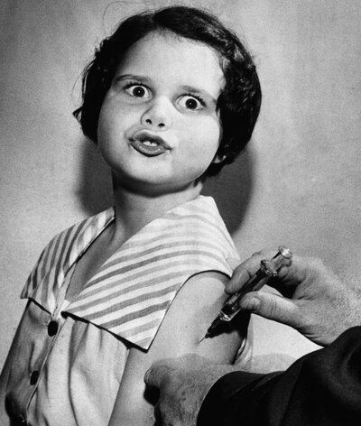 On April 18, 1955, 8-year-old Ann Hill of Tallahassee, Fla., received one of the first Salk polio vaccine shots.