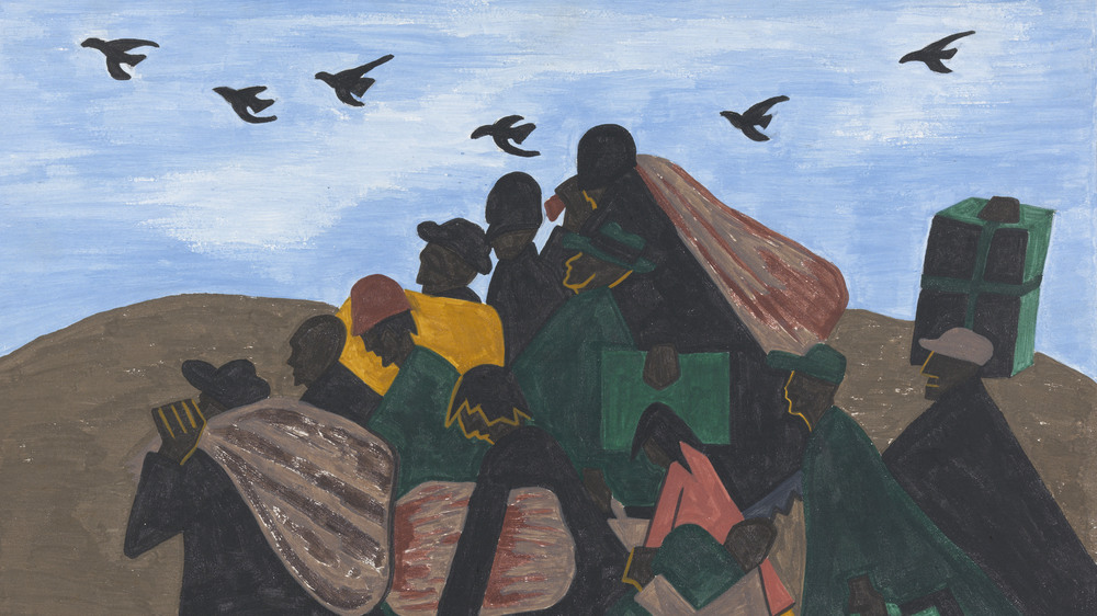 Each of the 60 paintings in Jacob Lawrence's Great Migration series is accompanied with a caption. For this panel, he wrote in 1941: