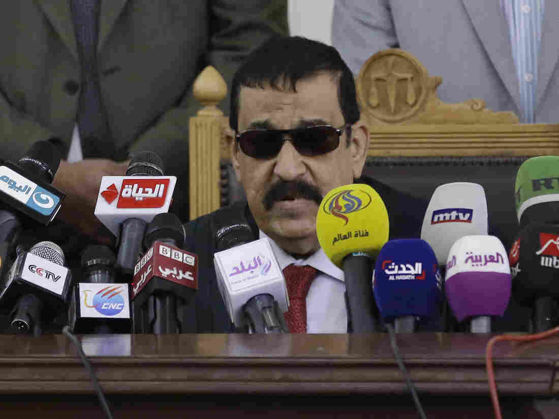 Egyptian Judge Mohammed Nagi Shehata reads the verdicts against Mohammed Soltan and others charged with ties to the Muslim Brotherhood in Cairo on Saturday.