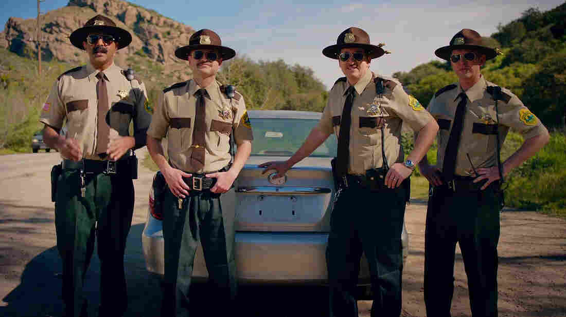 Super Troopers director and actor Jay Chandrasekhar (left), along with other castmates from the cult comedy film, solicit investment for a sequel in a screengrab from their IndieGogo campaign.