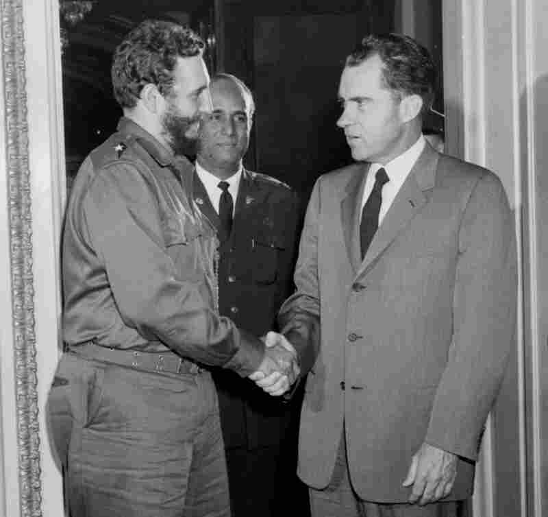 Richard Nixon, then vice president, meets with Cuba's Fidel Castro on April 19, 1959. It was the last time an American leader would meet with one of the Castros until Obama did this past weekend.