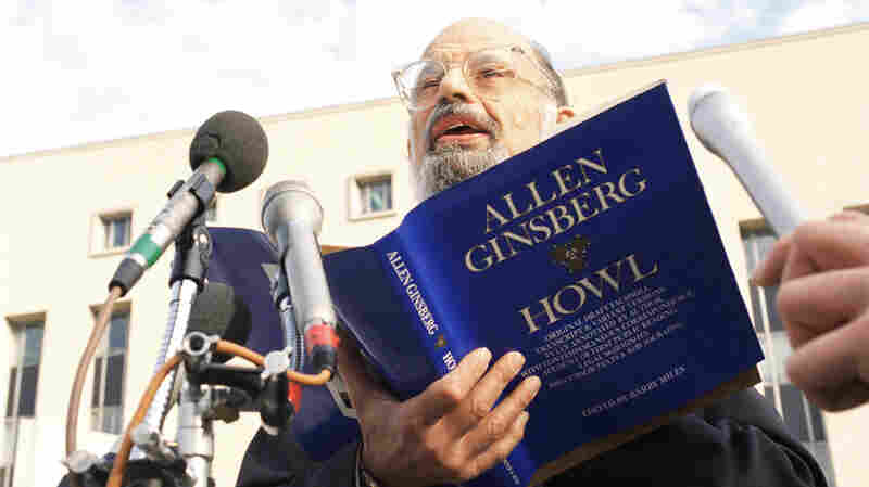 "Poet Allen Ginsberg reads his poem ""Howl"" outside the U.S. Court of Appeals in Washington, D.C., Oct. 19, 1994, before a hearing on the constitutionality of a FCC policy restricting indecent material."