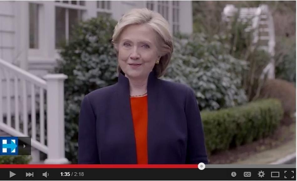 Hillary Clinton announces her candidacy. (Hillary Clinton campaign)