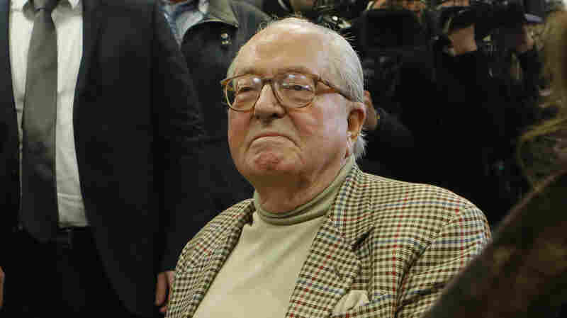 The founder of France's far-right National Front party, Jean-Marie Le Pen, attends a news conference in Nanterre on March 22. Le Pen says he won't run in the upcoming regional elections.