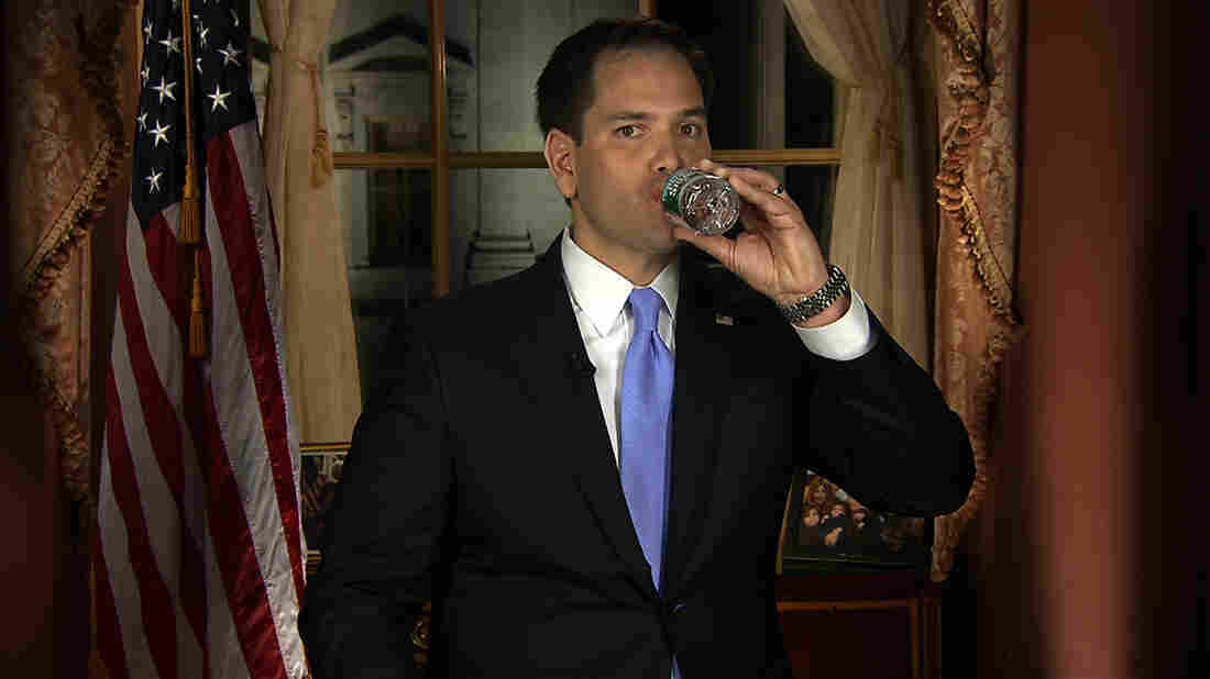 In this frame grab from video, Florida Sen. Marco Rubio takes a sip of water during his Republican response to President Obama's 2013 State of the Union address.