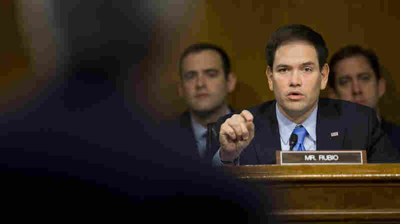 Senate Foreign Relations Committee member Sen. Marco Rubio, R-Fla., questions Secretary of State John Kerry on Capitol Hill last month. In an interview with NPR, Rubio reiterated his opposition to President Obama's dealings with Iran and Cuba.