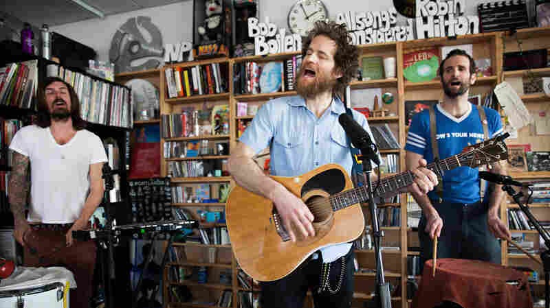 Jon Reilly (left), Chadwick Stokes and Will Urmston perform a Tiny Desk Concert on March 9, 2015.