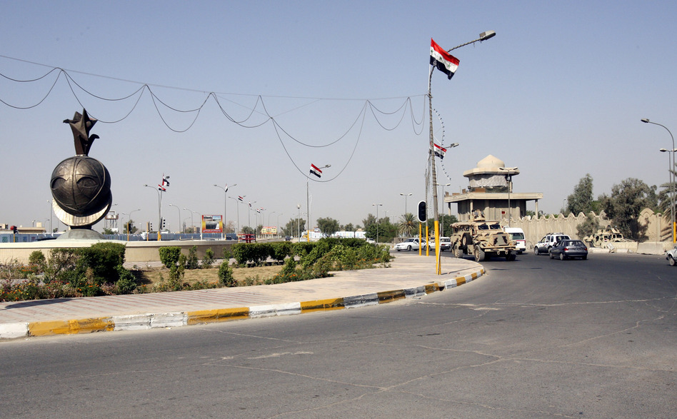 Former Blackwater security guards were sentenced Monday for the shooting of dozens of Iraqi civilians in Nisour Square in Baghdad, Iraq. The square is seen here on Sept. 20, 2007, four days after the incident. (Khalid Mohammed/AP)