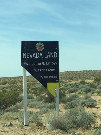 Near the Bundy ranch in southern Nevada, homemade signs like this are a testament to the fact that the BLM has completely pulled out of the area in the year since the armed standoff over cattle grazing.