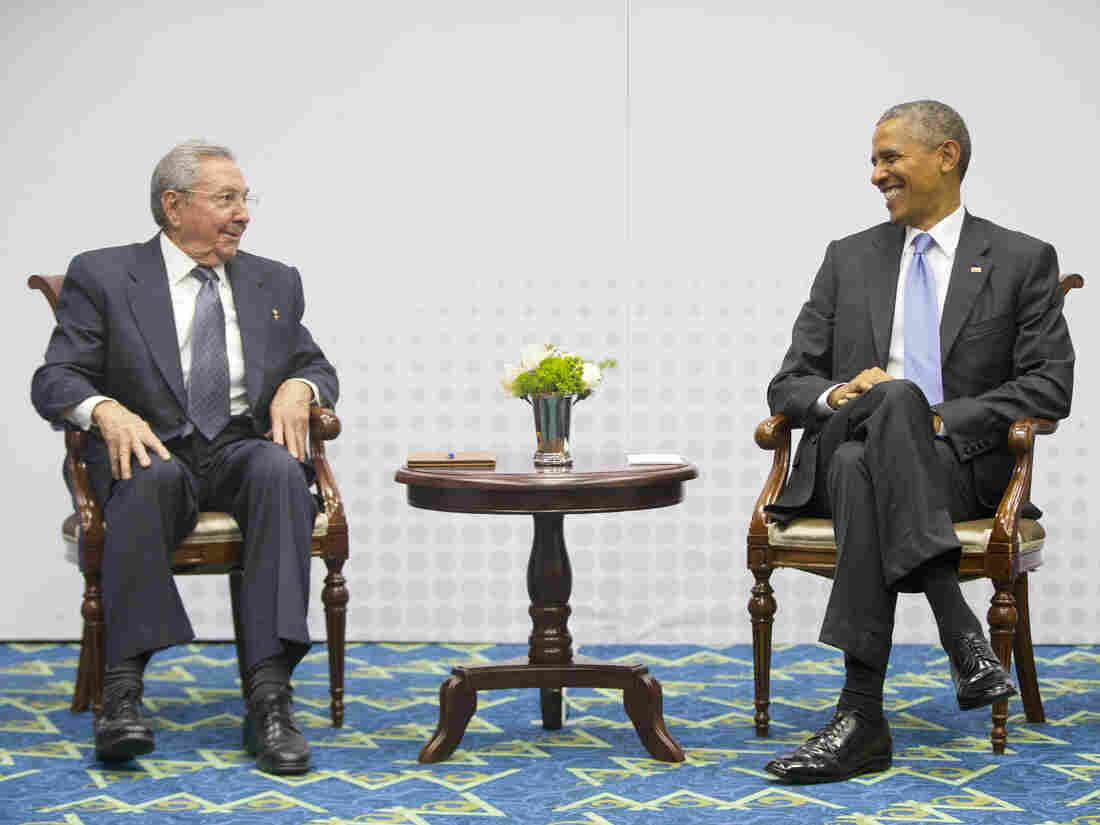 President Obama with Cuban President Raul Castro during their historic meeting at the Summit of the Americas in Panama City. The Obama administration announced Tuesday it will remove Cuba from its list of state sponsors of terrorism.