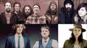 Clockwise from upper left: Built To Spill, Brown Bird, Holly Miranda, The Milk Carton Kids