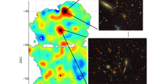 Mass map with images of two galaxy clusters and a cosmic void.