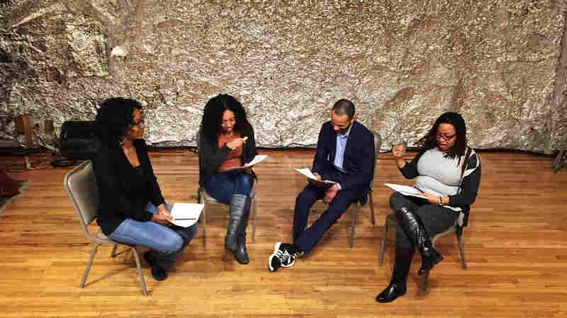 Lauren Lattimore (left), Wi-Moto Nyoka, Edmund Alyn Jones and Courtney Harge rehearse a scene from Blue-Eyed Black Boy, a play about lynching that was written around 1930.