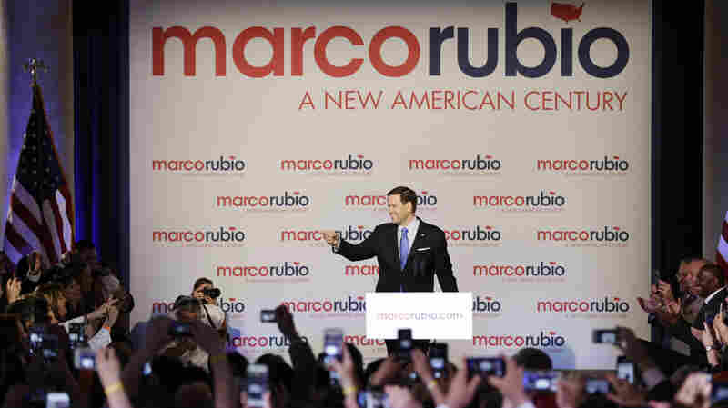 Florida Sen. Marco Rubio waves at supporters in Miami Monday.