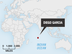 Map showing location of Diego Garcia