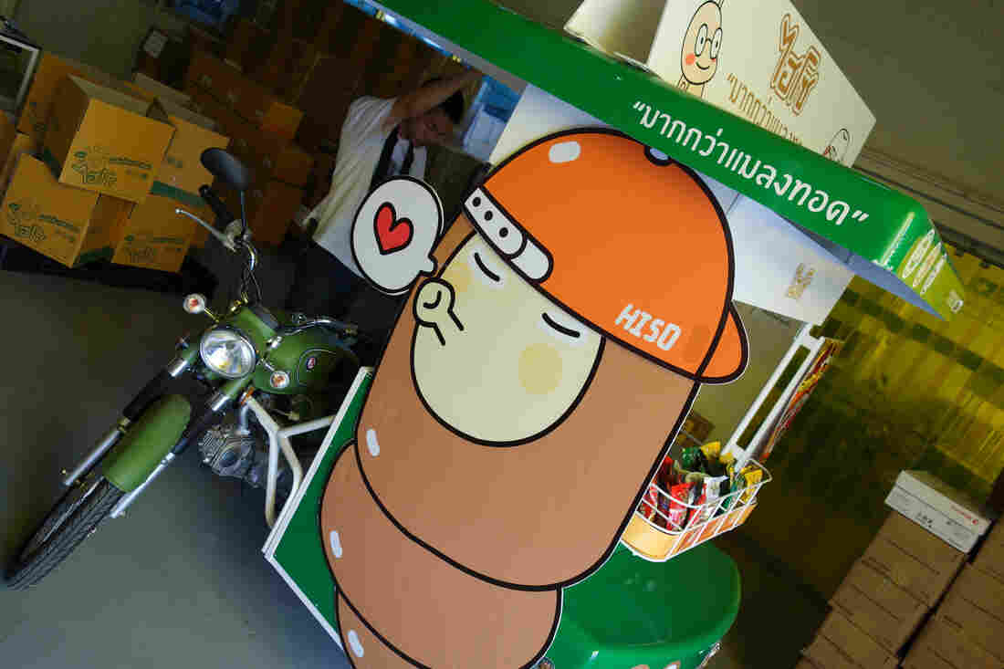 The company has taken the usual insect vendor's truck and tricked it out with lights and music in an effort, in Panitan's words, to improve the image of the edible insects by making the cart more fun and attractive and to build awareness of the brand.