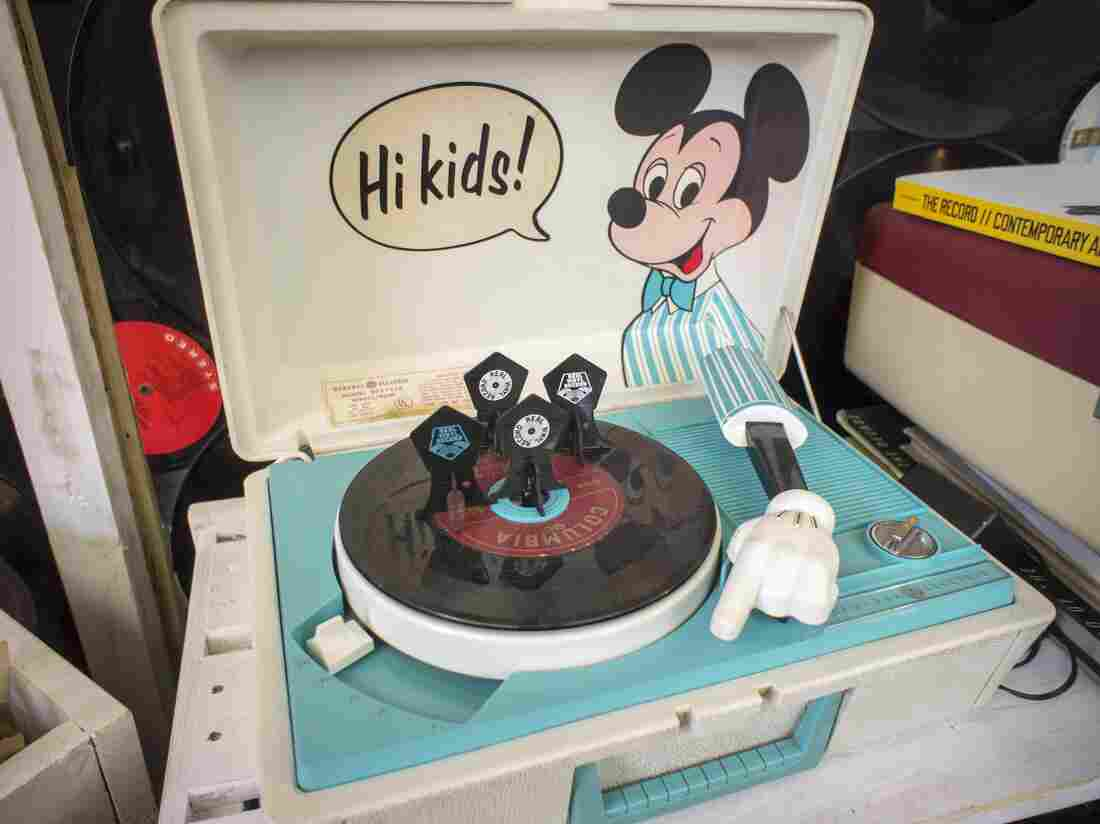 A Mickey Mouse themed child's 45rpm record player at The Crate record store in Bushwick in New York on Record Store Day.