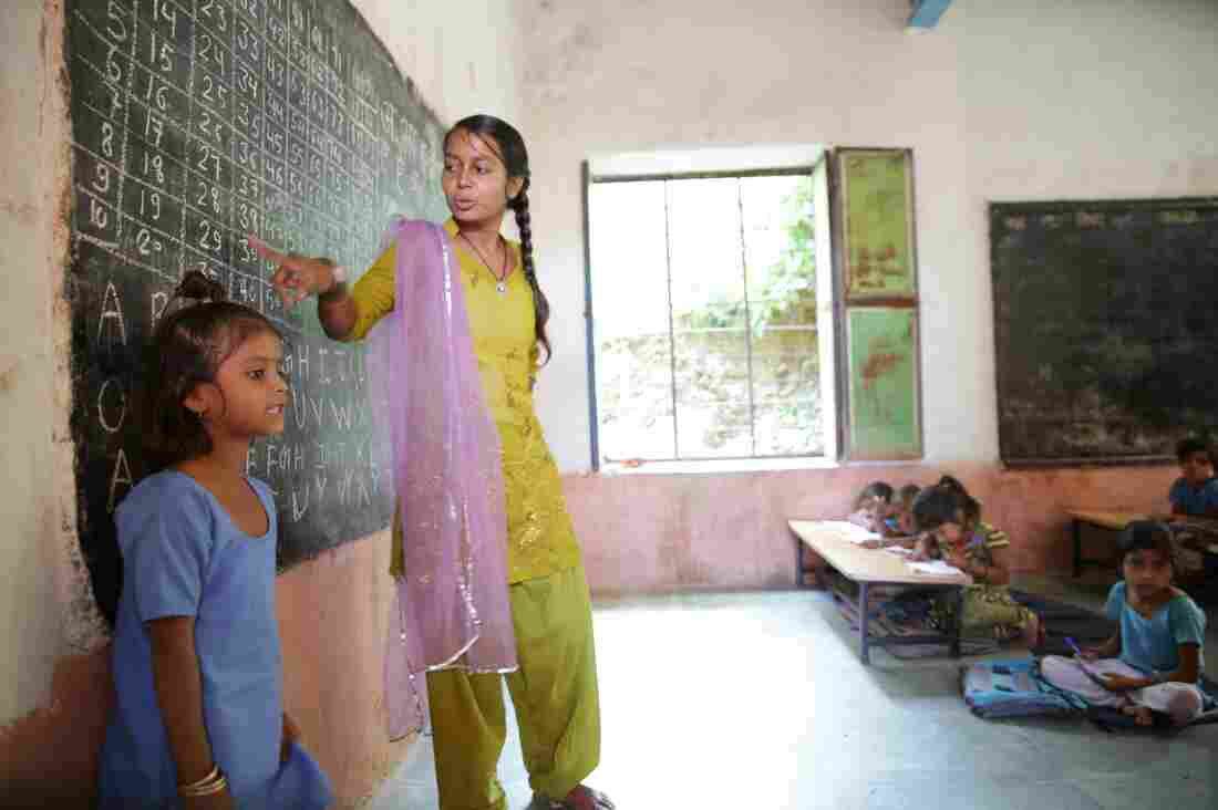 Many social entrepreneurs focus on improving education around the world. The organization Educate Girls, founded by Skoll awardee Safeena Husain, helps ensure more girls in rural India — like the ones here in Rajasthan — go to school and stay there.