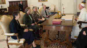 Pope Francis talks with a delegation of the Leadership Conference of Women Religious during an audience in the pontiff's studio at the Vatican on Thursday. The Vatican announced the unexpected conclusion of a controversial overhaul of the main umbrella group of U.S. nuns.