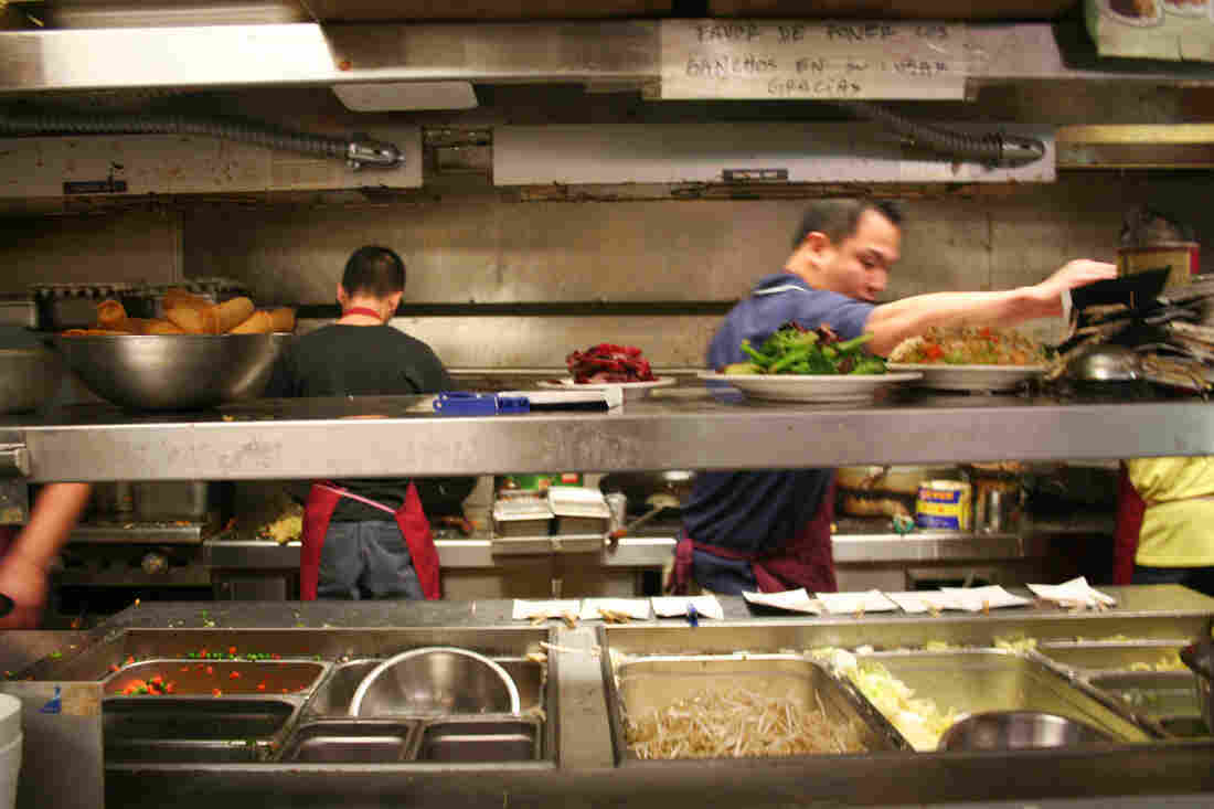 In the Fortune Garden kitchen in El Centro, Calif., near the Mexican border, cooks speak to each other in Cantonese, and waiters give orders in Spanish.
