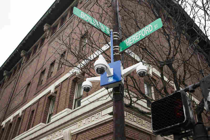 High-definition video cameras with 30x magnification keep watch over the Boston Marathon finish line, where two bombs detonated in 2013, killing three people and injuring hundreds.