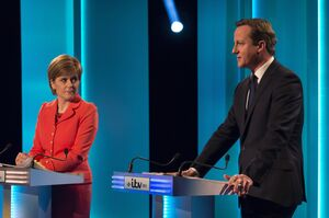 Sturgeon has delighted the audiences during a series of televised debates. Here, she is seen with British Prime Minister and Conservative leader David Cameron at the first, on April 2, after which newspapers hailed her as