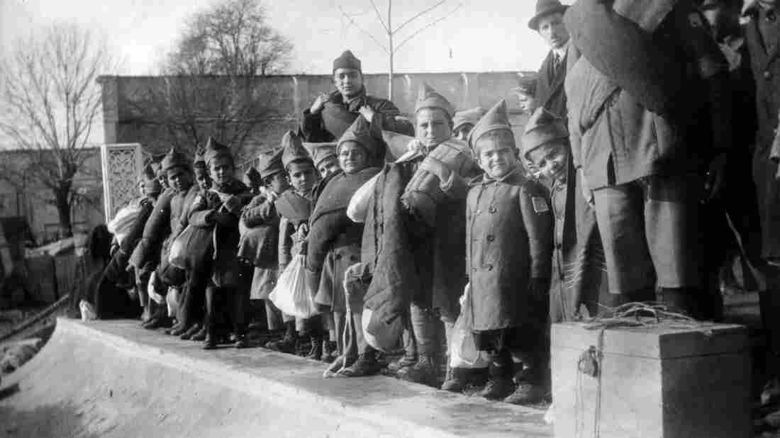 This news photograph from 1915 shows Armenian orphans deported from Turkey.