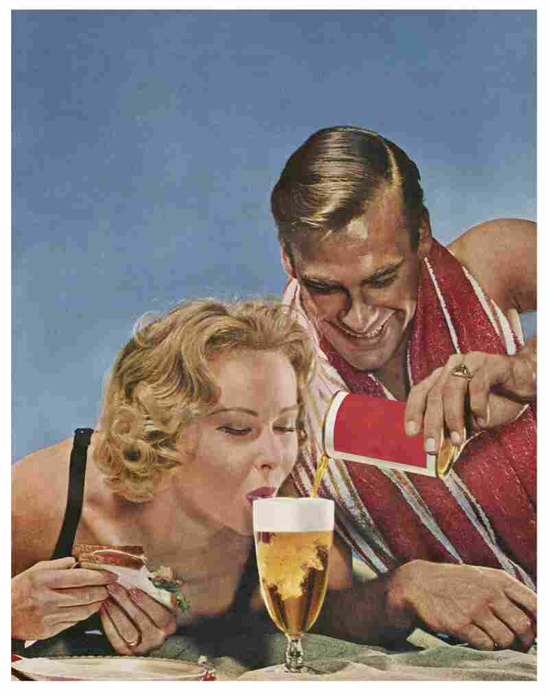 "You don't have to try so hard!, 1958. Artist Hank Willis Thomas and NPR's Linda Wertheimer used this ""unbranded"" ad from 1958 — with a man mischievously smiling as a woman laps up beer — as an example of the growing sexualization of women in ads from the late '50s."