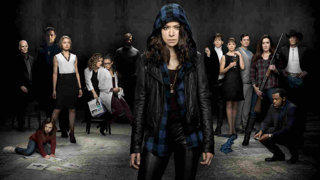 Tatiana Maslany (center) plays several different clones on the BBC America series Orphan Black.