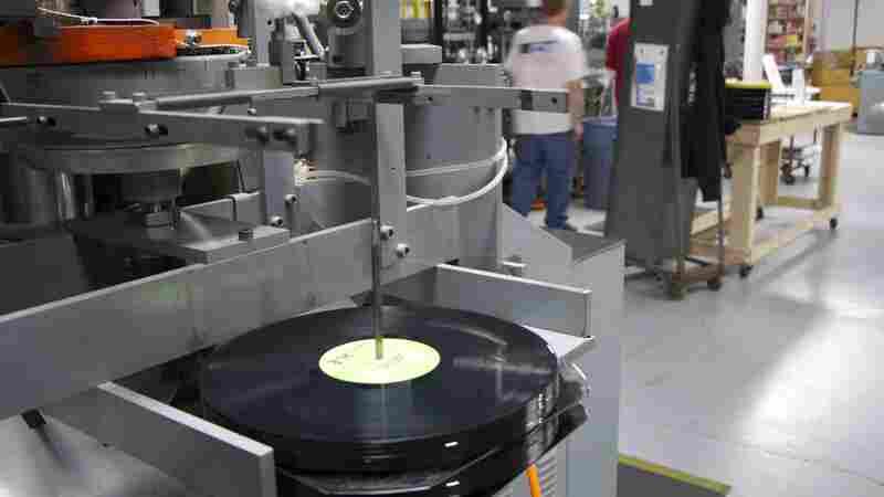 One of the record presses on the floor at the Quality Record Pressings plant in Salina, Kan.