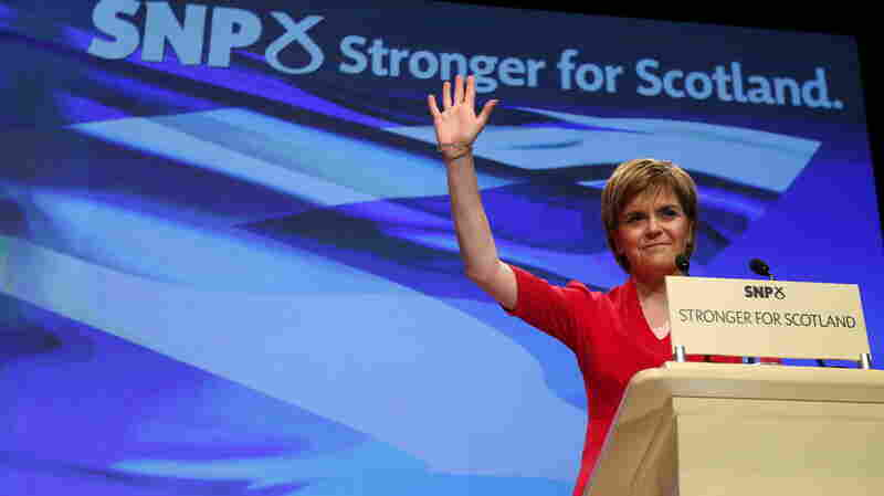 Nicola Sturgeon, Scotland's first minister and leader of the Scottish National Party (SNP), delivers a speech in Glasgow, Scotland, on March 28. After its loss at the polls last year on the issue of Scottish independence, the party has quadrupled its membership and is on the ascendant.