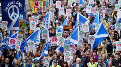 Demonstrators march in Glasgow, Scotland, to call for the scrapping of Britain's Trident nuclear weapons program on April 4. Opposition to Trident is a cornerstone of the SNP's platform.