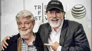George Lucas and Stephen Colbert talked on Friday at an event at the Tribeca Film Festival.