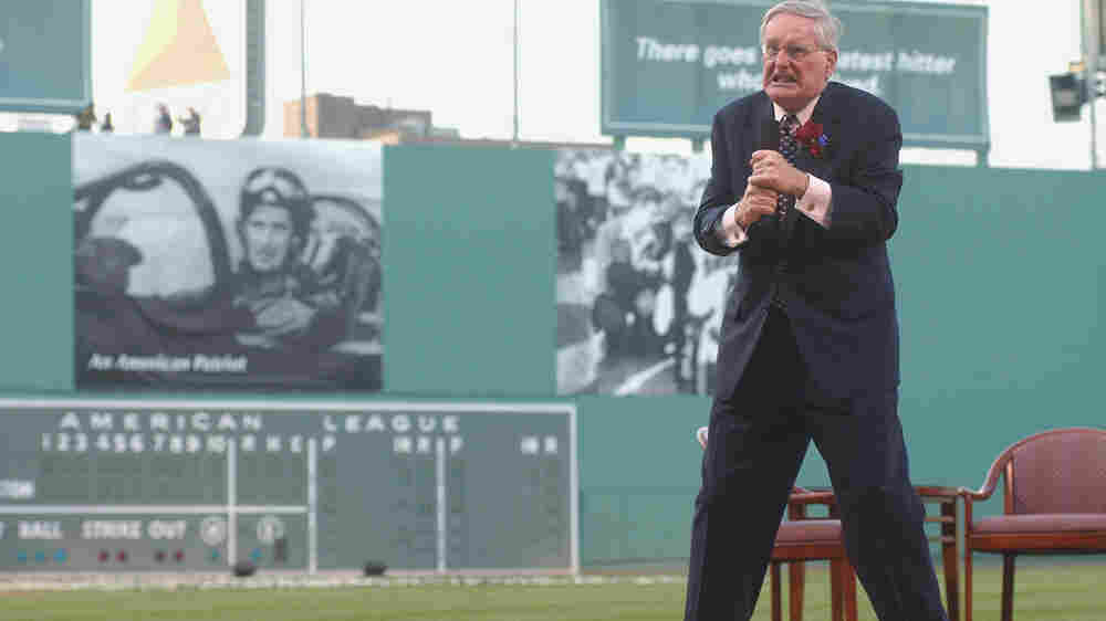 "Humorist and Boston Red Sox Poet Laureate Dick Flavin recites ""Teddy at the Bat"" during the Ted Williams tribute on July 22, 2002 at Fenway Park in Boston."