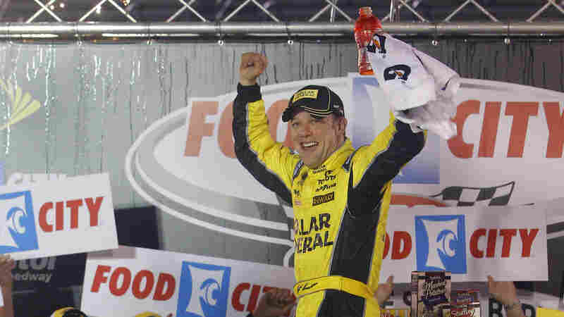 Driver Matt Kenseth celebrates in victory lane after winning a NASCAR Sprint Cup Series auto race at Bristol Motor Speedway on Sunday in Bristol, Tenn.