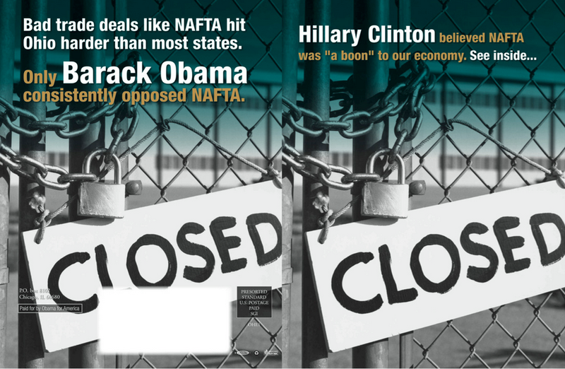 A mailer sent by the Obama 2008 campaign against Hillary Clinton during the final stretch of the primary battle.